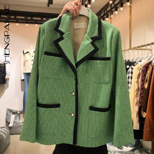 SHENGPALAE Autumn Winter 2020 Women's Blazer Fashion Suit Collar Single Breasted Contrast Color Matching Pocket Sut Coat 5A704