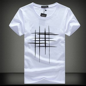 Algodón Color Puro Impresión Casual Hombre O-Cuello T Shirts Moda Tops Hombres Camiseta Camiseta de manga corta Tshirt