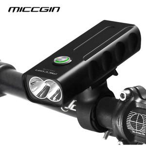 Bicicleta T6 LED MAX 1000LM 18650 Linterna de la luz de la bicicleta para el ciclismo Flashlight USB Recargable Lámpara de faro Accesorios Miccgin 201119