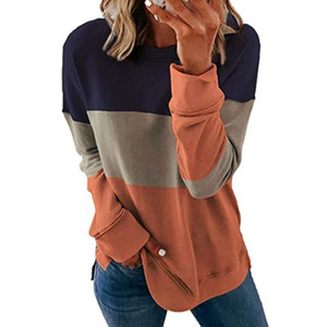 Spring Autumn Plus Size Sweatshirt Women Stitching Color Modern Design Polyester Upper Garment for Home Hoodie Sweatshirt