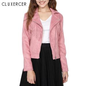 2020 Otoño Faux Suede Cuero Chaqueta Mujeres Elegante Tassel Pink Biker Jacket Femenino Outwear Slim Short Winter Cuero