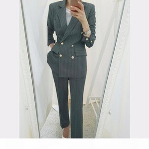 BGTEEVER Work Business Striped Women Suits Double Breasted Slim Pant Suits Blazer Jacket & Pencil Pant Office Lady 2 Pieces set