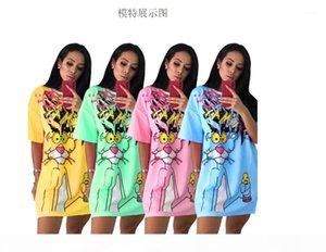 Diamonds Animal Dress Women Pink Panther T Shirt Dress Beading T Shirt Summer O Neck Short Sleeve Loose Z3421