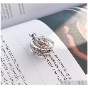 S1015 Hot Fashion Jewelry S925 Sterling Sliver Ring Cat Vintage Feather sqcFRU queen66
