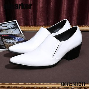Hot Sale-6.5cm Heels High New 2017 Handmade White Wedding Shoes Men Busines Leather Dress Shoes White Pointed Toe! EU38-46