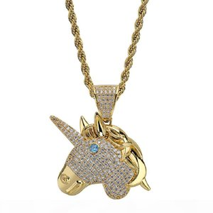 Gold Silver Mens Necklace Designer Hip Hop Jewelry Iced Out Chain Unicorn Pendant Necklaces Zircon Punk 18k Gold Plated Chain Men Gifts New