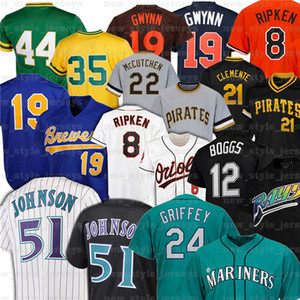 51 Randy Johnson 24 Ken Griffey JR 12 Wade Boggs Nolan Ryan Robin Yount 21 Roberto Clemente Tony Gwynn 8 Cal Ripken Jr. Jerseys de basketball