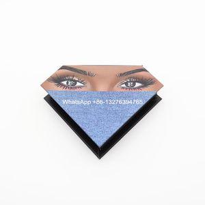 Denim Bandana Diamond Lash Box With Tray Custom Lash Box Packaging With Logo Dramatic Long Wispies Fluffy Handmade Eyelash