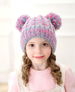 Kid Knit Crochet Beanies Hat Girls Soft Double Balls Winter Warm Hat 12 Colors Outdoor Baby Pompom jllbYV bdecoat