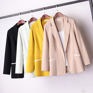 PEONFLY Autumn New Fashion Blazer Jacket Women Casual Pockets Long Sleeve Pockets Coat Office Ladies Solid Loose Blazers 2020