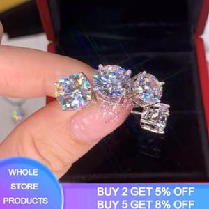 With Certificate 100% Original 925 Sterling Silver Stud Earrings Natural 6 8mm Gemstone Zirconia Diamond Earrings For Women