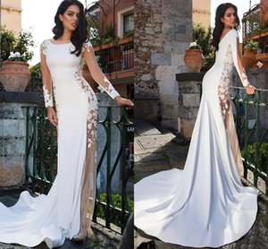 Sexy Mermaid Wedding Dresses 2021 Long Sleeves Lace Appliques See Through Beach Bridal Gowns Backless Satin Elegnant robes de mariée AL7850