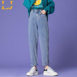 Leijijeans plus Größe Lose Kleine Bein Frauen Harem Hose Freund Weiße Capris Jeans Blaue Damen Denims