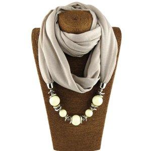 Fashion Neckerchief Untique Cotton Scarf Necklaces Beads Statement Maxi Necklace Women Muffler Neckerchief Bijoux