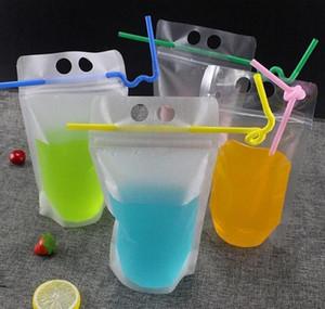 17oz 500ml Bolsas de bebidas claras Bolsas con cremallera helada Soporte de plástico Bolsa de consumo de plástico con paja con el soporte Reclos JLLTBD AUSEOUT