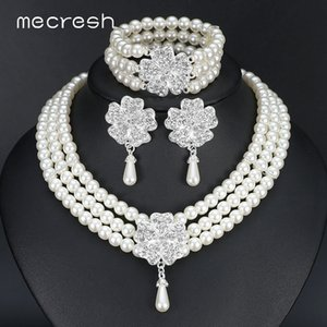 Mecresh Round Imitated Pearl Dubai Bridal Jewelry Sets Statement Wedding Bracelet Earrings Necklace Sets Party Accessories TL371 Z1201