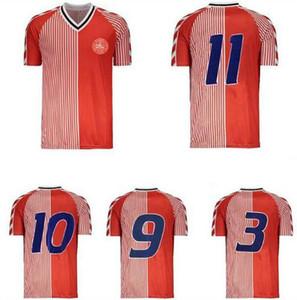 Retrô Denmark World Copa 1986 Futebol Jerseys Larsen Olsen Laudrox Molby Lerby Vintage Dinamarca Dinamarca Camisa de Futebol Kit Maillot Se Foot