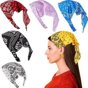2021 Boho Elastic Headband Turban For Women Cashew Print Headwrap Triangle Cotton Bandanas Hairband Girls Hair Accessories
