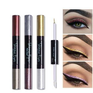 24H Long Lasting Liquid Eyeshadow + Eye Liner Glitter Metallic Shadow Cream Pigment Makeup Set Shimmer Gold Nude