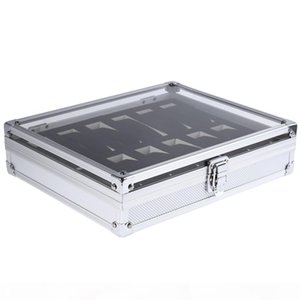 K Professional 12 Grid Slots Jewelry Watches Display Storage Square Box Case Aluminium Suede Inside Container Jewelry