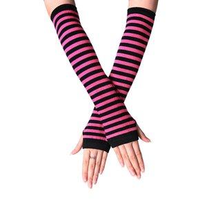 Half Finger Gloves Knitting Driving Protective Sleeves Long Striped Women Fingerless Lovely Mitten Autumn Winter New Arrival 1 8sm K2