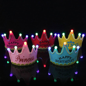Clearance sale Led birthday party Prince & Princess crown sequin crown baby Hat Hair Accessories kids Hair Accessory Z78