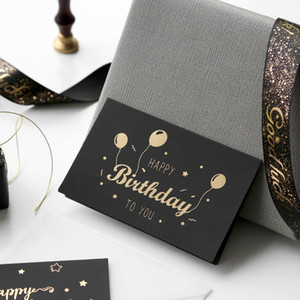 black bronzing greeting card thank you happy birthday I love you print wedding invitations + envelope card holiday blessing card GWA2458