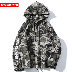 Aelfric Eden Hip Hop Letter Printed Men Hooded Jacket Harajuku Casual Cotton Coats 2020 Autumn Male Pullover Streetwear