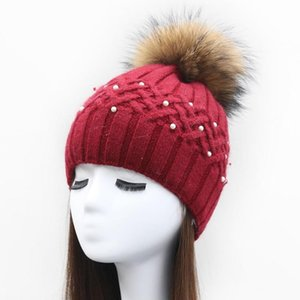 30% wool winter ladies fashion knitted bennie hat with pearls thick warm casual wholesale women real Raccoon fur pompom hat cap
