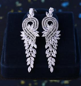 Full Zircon Long Earring Water Drop Stud Dropping Red Earrings Blue Yellow Jewelry For Wedding Bride Women Fashion Designer Earrings Gift