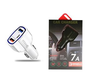 Tipo C Carregador de carro 3 Portas USB Rápido Carregamento rápido AADAPTER 35W 7A Carregadores de carro para ipad iphone x XR 11 12 Pro Max android