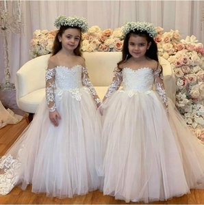 Long Sleeve Illusion Puffy Lace Lovely Flower Girl Dresses For Weddings Graduation Gowns Children birthday communion gown Gala Jurken