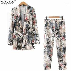 Kadın Takım Elbise 2018 Sonbahar Kadınlar Uzun Kollu Silahlı Kimono Blazer Yeni Kemer Baskı Ceket + Rahat Pantolon Suit İki / Parça Setleri11