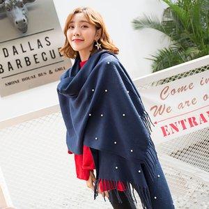 Mingjiebihuo Nueva moda otoño invierno mujeres bufanda chales gruesas perlas cálidas niñas sólido tassel gratis