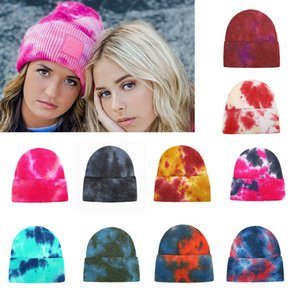 Autumn Winter Knitted Hat For Women Thicken Tie Dye Beanie Warm Knit Crimping Caps Outdoor Sport Skull Hat Fashion Ski Riding Hats