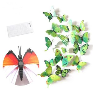 12pcs Diy Lifelike 3d Multicolor Butterfly Magnet Fridge Magnet Wall Stickers Kids Baby Rooms Kitchen Home Decoration Free Glue jllEMZ