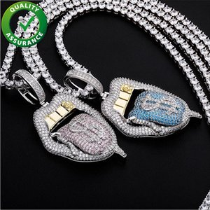 Hip Hop Jewelry Men Women Iced Out Pendant Exaggerated Big Mouth with Dollar Tongue Out Luxury Designer Necklace Fashion Bling Diamond Charm