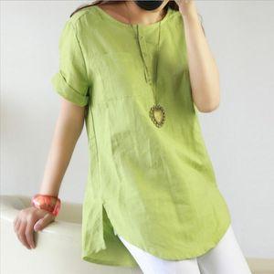 Big Size Dresses Summer 2020 Cotton Linen Shirt Women Up Long Womens Tunic Blouse Loose Short Sleeve Solid Color