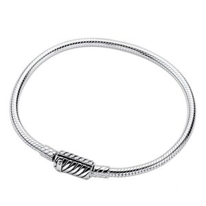 High-quality 925 Sterling Silver Moments Clasp Snake Chain Bracelet Fits European Pandora Style Charms and Beads