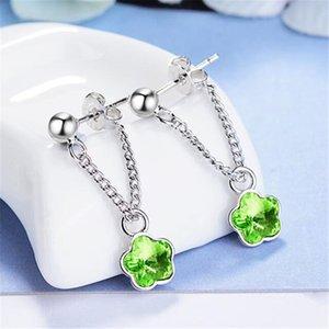 Crystal Silver Drop Earrings For Women Fashion Jewelry Accessories Flower Ear Pendant Korean Drop Ear Jewelry 609