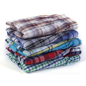 5 Pcs Mens Underwear Boxers Shorts Casual Cotton Sleep Underpants Quality Plaid Loose Comfortable Homewear Asian Size