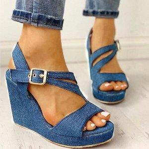 Mulheres Wedge Sandálias Senhoras Peep Toes Ankle Fivela Cinta Denim High High Heel Feminino Plataforma Casual Plataforma Mulher Sapatos Novo # EW8C