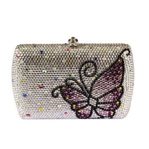 Designer-butterfly plain Crystal Women Evening clutches Bags Bridal Handbag Ladies Wedding clutch Purse For Bride Cocktail Party Hand Bag