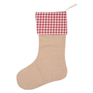 Christmas Decoration Plaid Stocking Fashion Stripe Dots Pendant Gifts Ornament Canvas Candy Bags Simple Style Red Green Hot Sale 6 8lj F2