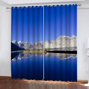 High quality custom Luxury Blackout 3D Window Curtains blue scenery curtains landscape Blackout curtain