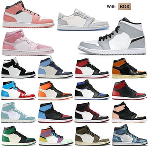 2021 men women fearless pink chicago obsidian mocha satin digital retro shoes 1 1s mens Jumpman basketball court 36-46