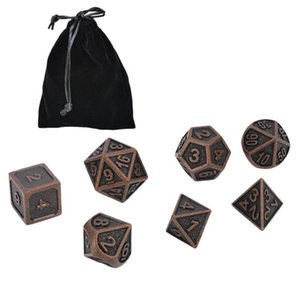 Hot 7Pcs Color Retro Metal Polyhedral Dice Role Playing Game Dice Set with Bag