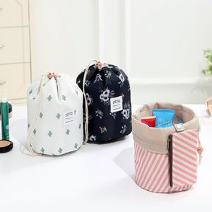 Women Cosmetic Bag Barrel Shaped Makeup Bags Drawstring Travel Pouch Toiletry Bags Cactus flamingo Flower Printing 7 ColorsOptional LQPYW974