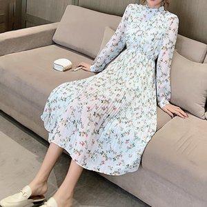 Wiccon Vintage Çiçek Elbise kadın Bahar 2021 Yeni Yuvarlak Boyun Tek Göğüslü Moda Pileli Hem Uzun Kollu Elbiseler
