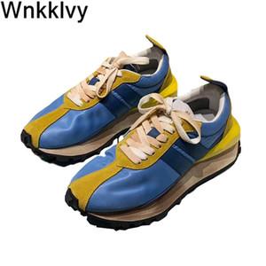 Patchwork in esecuzione su tela Aumentare il fondo spessore del fondo di pizzo di piccole scarpe da ginnastica sporche Delle donne tacco piatto scarpe causali per le ragazze 2020 Q1207